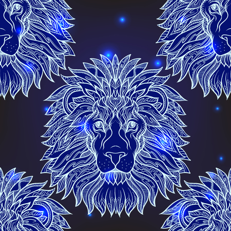 Seamless pattern, background with ethnic patterned ornate  animal
