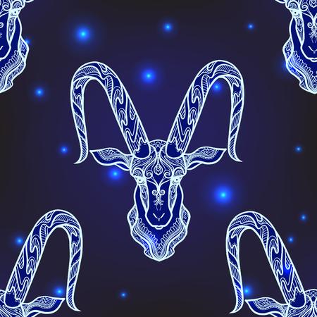 Patrón sin fisuras, fondo con animales ornamentados con motivos étnicos Ilustración de vector