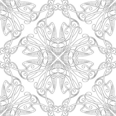 Seamless pattern, background with floral ornament In art nouveau style, vintage, old, retro style. Outline drawing. Vector illustration
