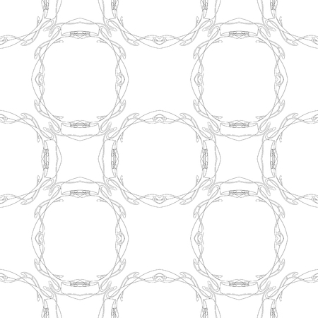 Seamless pattern, background with floral ornament In art nouveau style, vintage, old, retro style. Outline drawing. Vector illustration Archivio Fotografico - 110431163