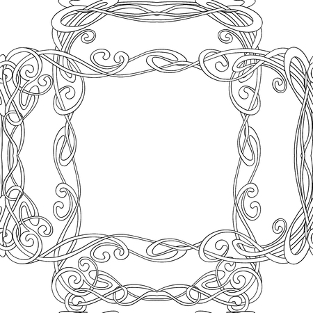 Seamless pattern, background with floral ornament In art nouveau style, vintage, old, retro style. Outline drawing. Vector illustration Illustration