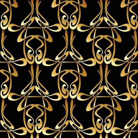 Nahtloses Muster, Hintergrund mit Blumenverzierung im Jugendstil, Vektorgrafik