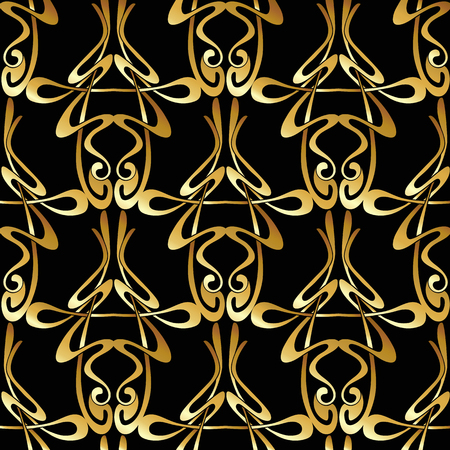 Patrón sin fisuras, fondo con adornos florales en estilo art nouveau, Ilustración de vector