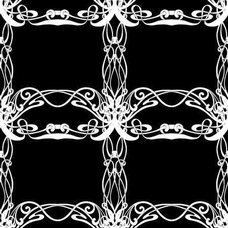 Patrón transparente, fondo con adornos florales en estilo art nouveau, estilo vintage, antiguo, retro. Gráficos en blanco y negro. Ilustración vectorial