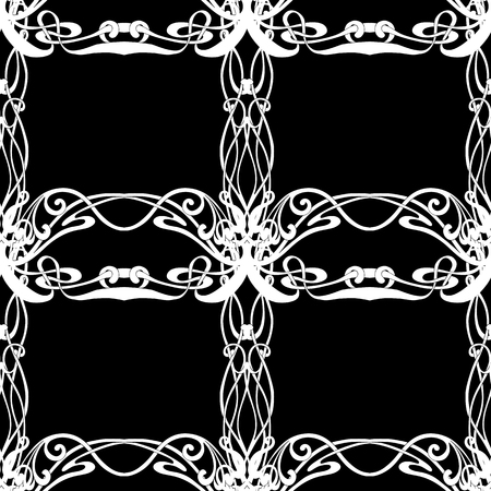 Seamless pattern, background with floral ornament In art nouveau style, vintage, old, retro style. Black-and-white graphics. Vector illustration