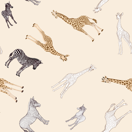 Seamless pattern, background  with adult zebra and giraffe  and zebra and giraffe cubs. Vector illustration. Foto de archivo - 107698897