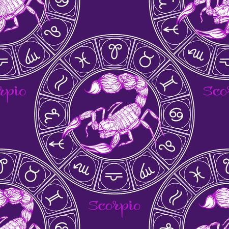 Modèle sans couture avec symboles d'un horoscope, signes du zodiaque Vecteurs