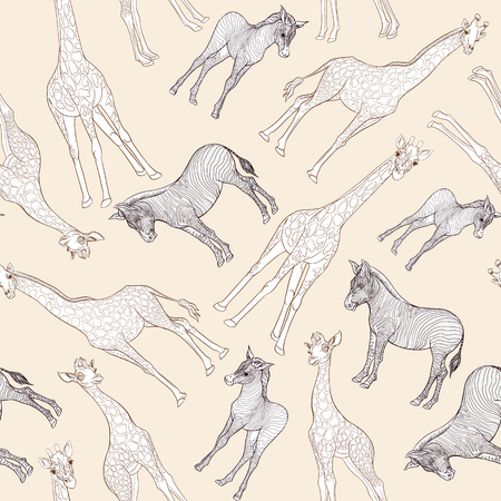 Seamless pattern, background  with adult zebra and giraffe  and zebra and giraffe cubs. Vector illustration. Archivio Fotografico - 107698920