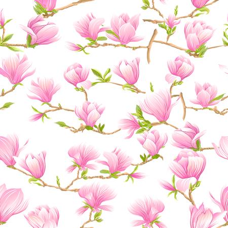 Nahtloses Muster mit rosa Magnolienblumen. Vektor-Illustration.