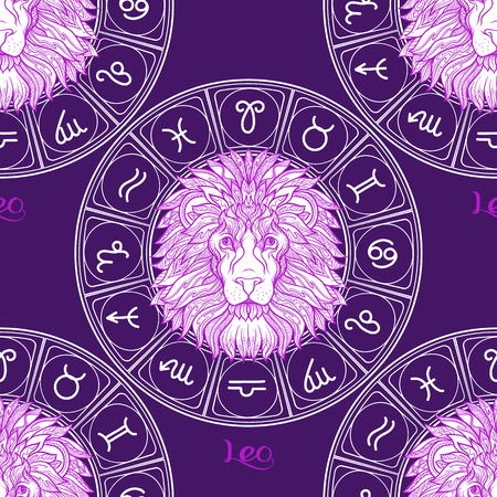 Seamless pattern with symbols of a horoscope, signs of the zodiac Stock Vector - 107698936