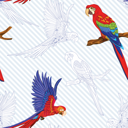 Seamless pattern, background  with birds.  Vector illustration