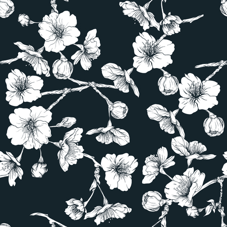 Seamless pattern, background with blooming cherry japanese sakura Illustration