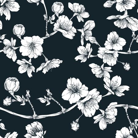 Seamless pattern, background with blooming cherry japanese sakura Vettoriali