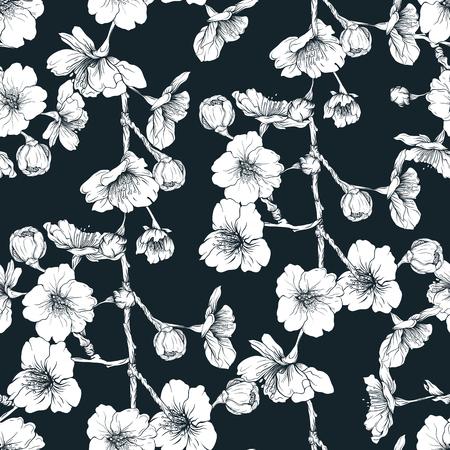 Seamless pattern, background with blooming cherry japanese sakura Illustration