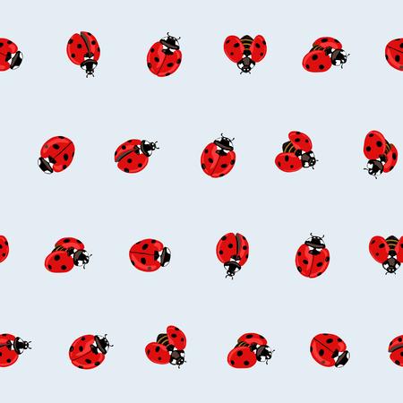 Ladybug seamless pattern, texture. Illustration