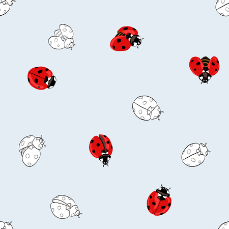 Ladybug seamless pattern, texture.