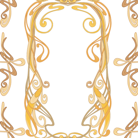 Seamless pattern, background with floral ornament In art nouveau style, vintage, old, retro style. In gold colors Isolated on white background.. Vector illustration Illustration