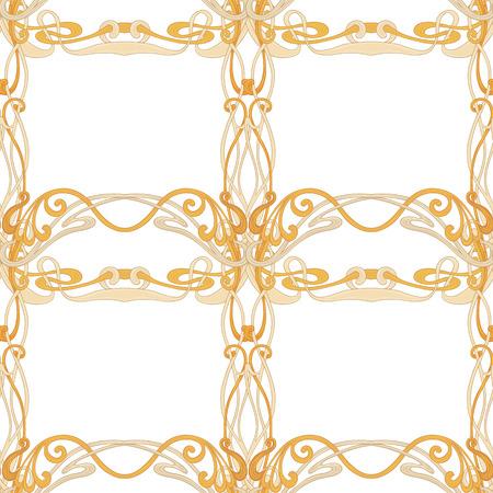 Nahtloses Muster, Hintergrund mit Blumenverzierung Im Jugendstil, Vintage, alt, Retro-Stil. In Goldfarben auf weißem Hintergrund isoliert. Vektorillustration Vektorgrafik