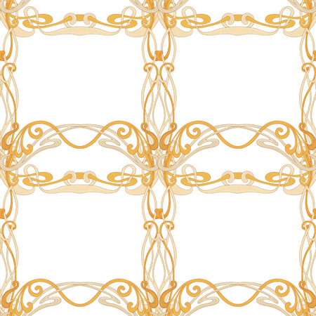 Seamless pattern, background with floral ornament In art nouveau style, vintage, old, retro style. In gold colors Isolated on white background.. Vector illustration