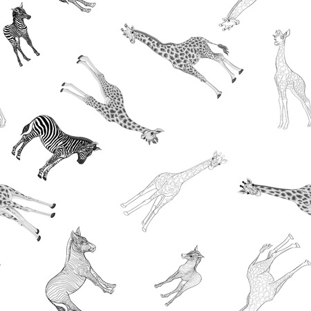 Seamless pattern, background  with adult zebra and giraffe  and zebra and giraffe cubs. Vector illustration. Foto de archivo - 107698979