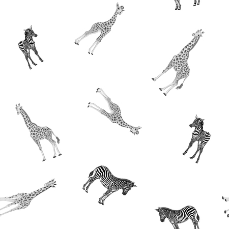 Seamless pattern, background  with adult zebra and giraffe  and zebra and giraffe cubs. Vector illustration. Foto de archivo - 107698988