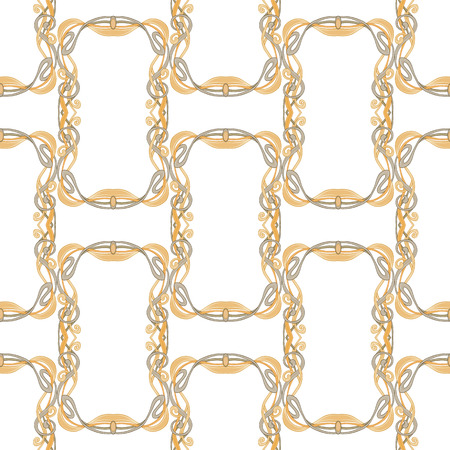 Seamless pattern, background with floral ornament In art nouveau style, vintage, old, retro style. In gold colors Isolated on white background.. Vector illustration 向量圖像