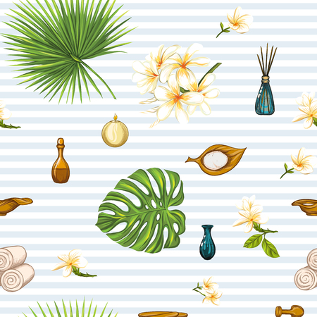 Seamless pattern with a set of different items, needs for SPA  or Thai massage Illustration