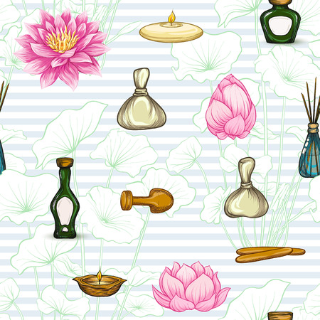 Seamless pattern with a set of different items, needs for SPA  or Thai massage Vettoriali