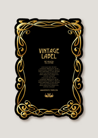 Frame, border in art nouveau style in gold color on black background. Label for products or cosmetics. Vintage, old, retro style. Stock vector illustration. Illustration