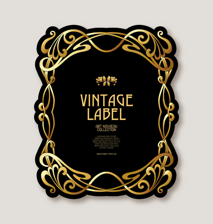 Frame, border in art nouveau style in gold color on black background. Label for products or cosmetics. Vintage, old, retro style. Stock vector illustration. Stock Illustratie