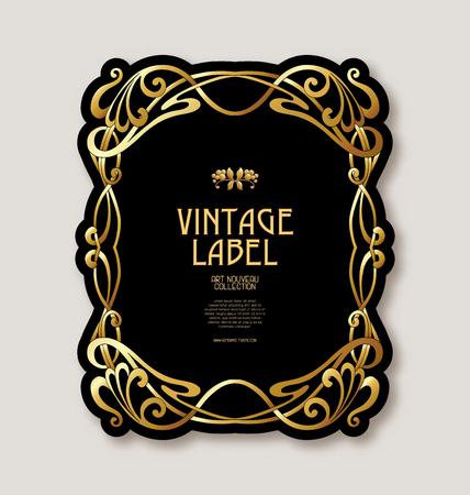 Rahmen, Grenze im Jugendstil in der Goldfarbe auf schwarzem Hintergrund. Etikett für Produkte oder Kosmetika. Vintage, alt, Retro-Stil. Stock Vektor-Illustration.
