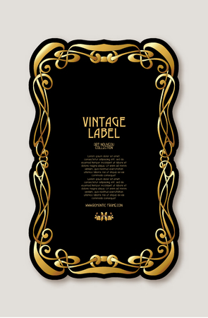 Frame, border in art nouveau style in gold color on black background. Label for products or cosmetics. Vintage, old, retro style. Stock vector illustration. Иллюстрация