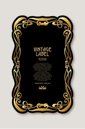 Marco, borde en estilo art nouveau en color dorado sobre fondo negro. Etiqueta para productos o cosméticos. Estilo vintage, antiguo, retro. Ilustración vectorial de stock. Ilustración de vector