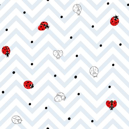 Ladybug seamless pattern, texture background.