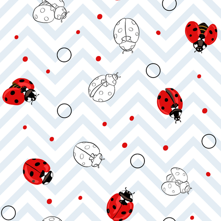 Ladybug seamless pattern, texture background.