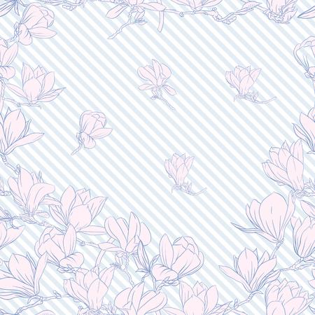 Patrón sin fisuras con flores de magnolia rosa. Ilustración vectorial. Ilustración de vector