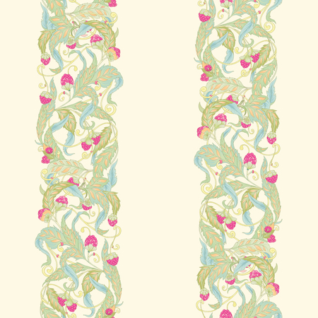 Seamless pattern with flowers and raspberries In art nouveau style, vintage, old, retro style. Colorful stock vector illustration. On soft yellow background.