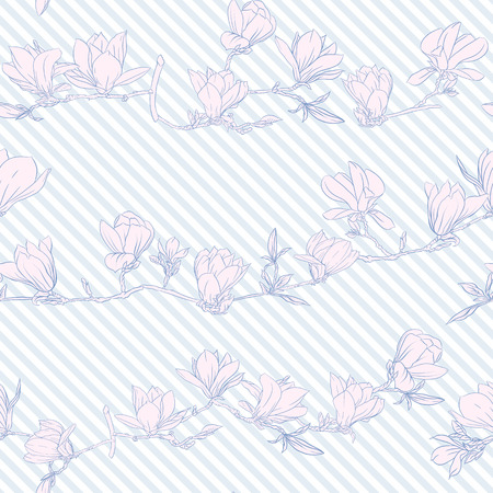 Seamless pattern with  pink magnolia flowers. Vector illustration.
