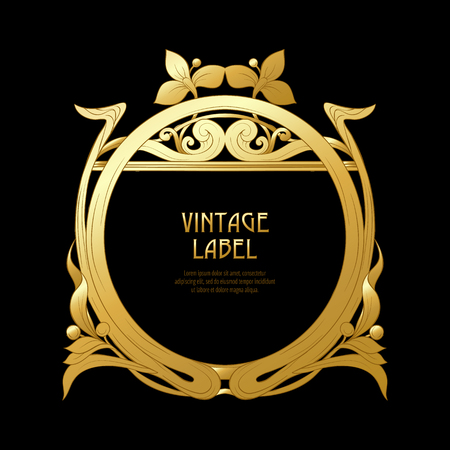 Frame, border in art nouveau style in gold color on black background. Label for products or cosmetics. Vintage, old, retro style. Stock vector illustration. Фото со стока - 110390035