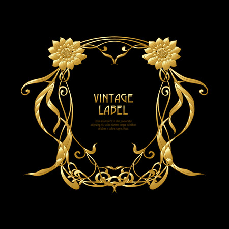 Frame, border in art nouveau style in gold color on black background. Label for products or cosmetics. Vintage, old, retro style. Stock vector illustration. Vectores
