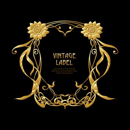 Marco, borde en estilo art nouveau en color dorado sobre fondo negro. Etiqueta para productos o cosméticos. Estilo vintage, antiguo, retro. Ilustración vectorial de stock.