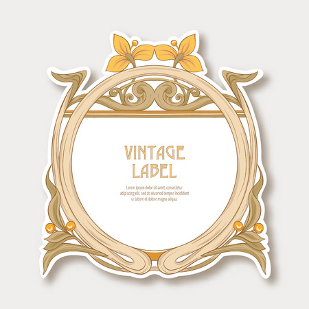 Label, sticker in art nouveau style Isolated on white background.. Label for products or cosmetics. Vintage, old, retro style. Stock vector illustration.