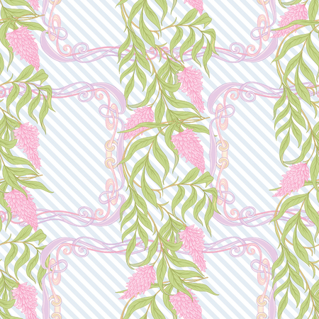 Seamless pattern with blooming pink acacia in art nouveau style.  Vector illustration