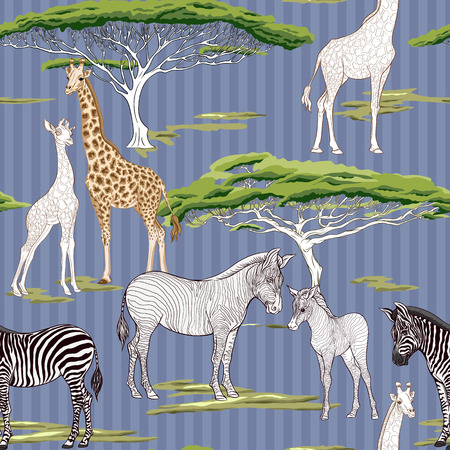 Seamless pattern, background  with adult zebra and giraffe  and zebra and giraffe cubs. Vector illustration. Archivio Fotografico - 107699126