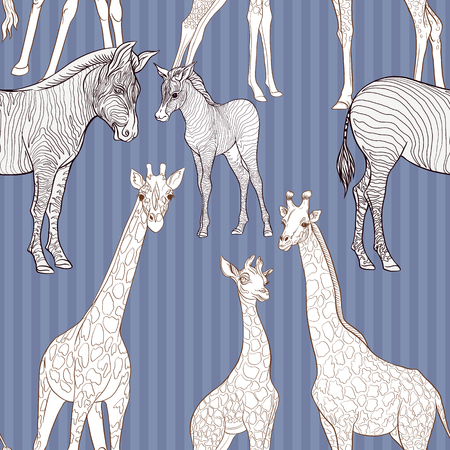 Seamless pattern, background  with adult zebra and giraffe  and zebra and giraffe cubs. Vector illustration. Foto de archivo - 107699129