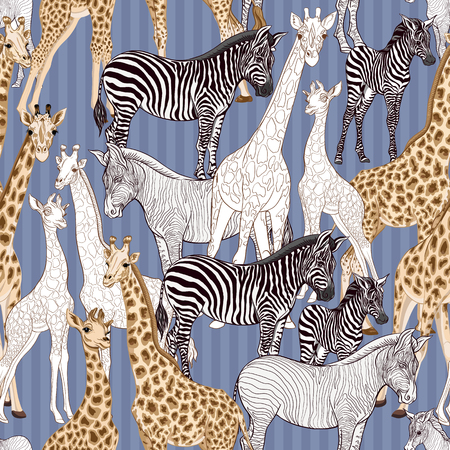 Seamless pattern, background with adult zebra and giraffe and zebra and giraffe cubs. Vector illustration. Vetores