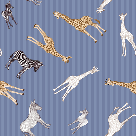 Seamless pattern, background  with adult zebra and giraffe  and zebra and giraffe cubs. Vector illustration. Archivio Fotografico - 107699131