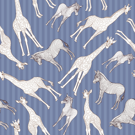 Seamless pattern, background  with adult zebra and giraffe  and zebra and giraffe cubs. Vector illustration. Archivio Fotografico - 107699133