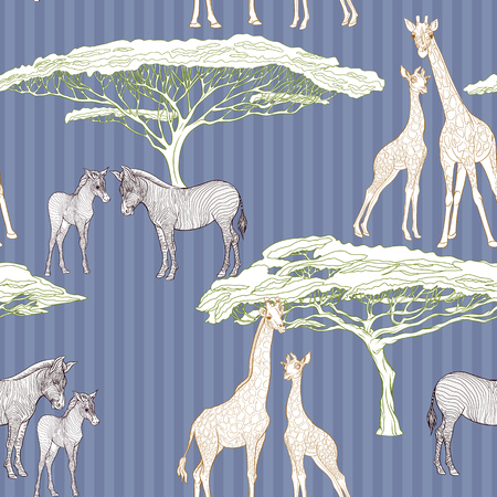 Seamless pattern, background  with adult zebra and giraffe  and zebra and giraffe cubs. Vector illustration. Archivio Fotografico - 107699135