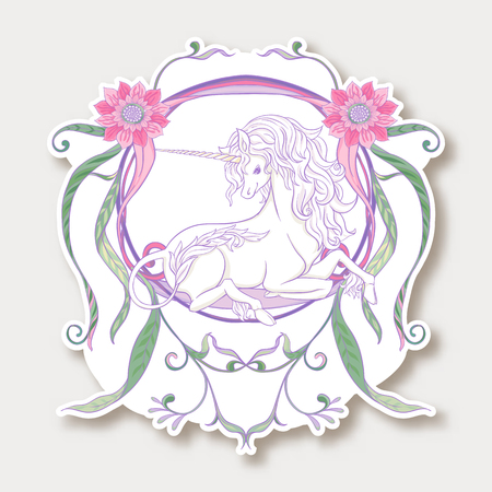 Sticker with cute unicorn with vintage frame and flowers Ilustração